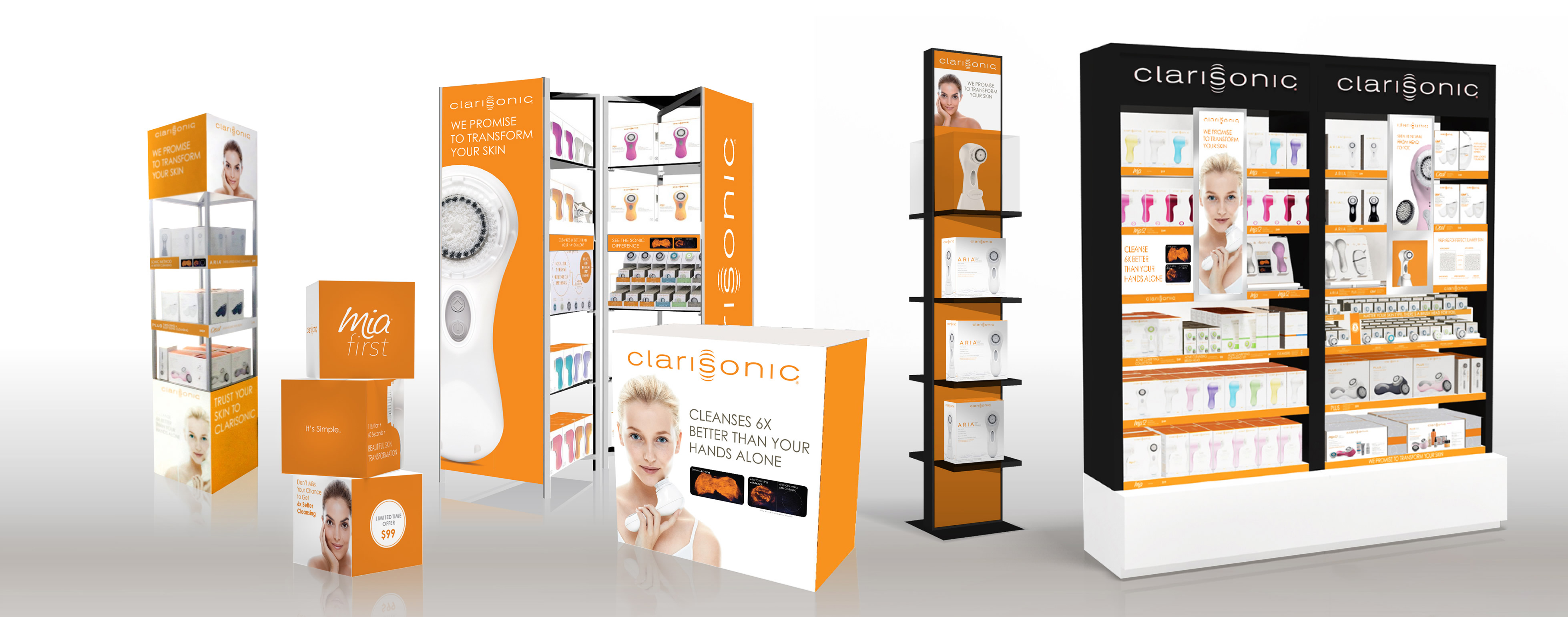 O'Berry Collaborative developed the retail creative strategy for Clarisonic, and designed the company's retail fixtures.