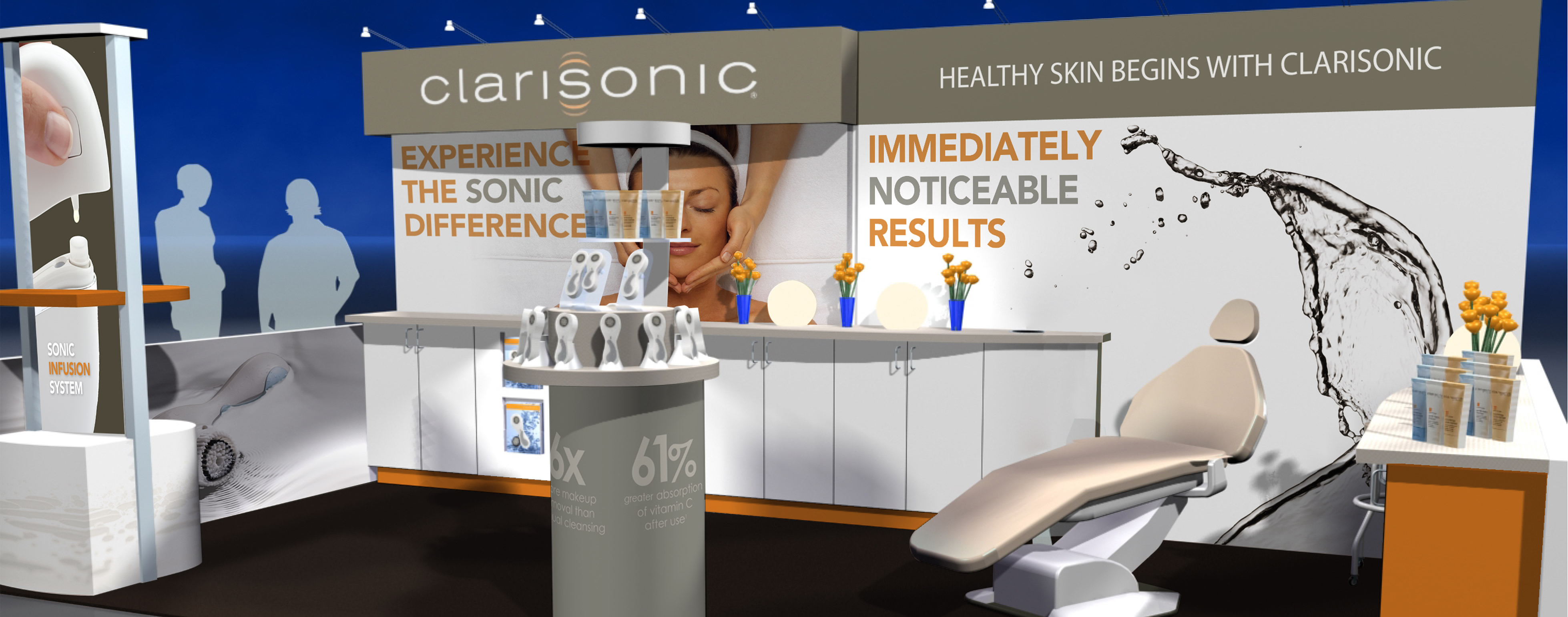 O'Berry Collaborative developed a Clarisonic tradeshow booth concept, and designed all the elements within the booth.